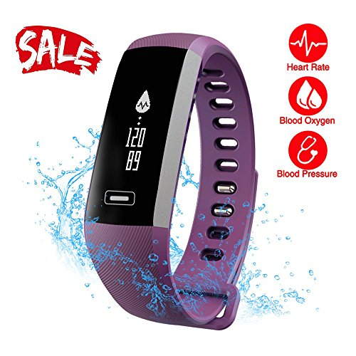 Smart Watch, Fitness Tracker, READ R5.PRO Heart Rate Monitor Blood Pressure Bracelet Pedometer Activity Tracker Sleep Monitoring Call SMS SNS Remind Watch for Android IOS (Purple)