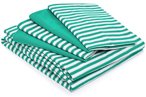 - Cosy House Collection Striped Bed Sheets - Super Soft Luxury Hotel Deep Pocket Bedding Fits Pillowtop - Stain, Fade & Wrinkle Resistant - 6 Piece Set - Fitted, Flat, 4 Pillowcases (King, Green)