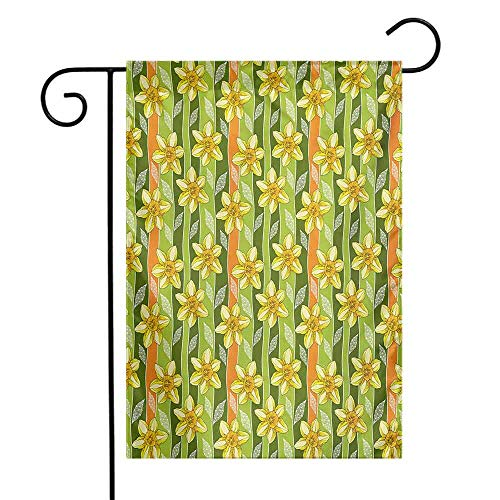 Mannwarehouse Daffodil Garden Flag Modern Daffodils Illustration Striped Setting Vitality Inner Focus Herbal Theme Premium Material W12 x L18 Green Yellow