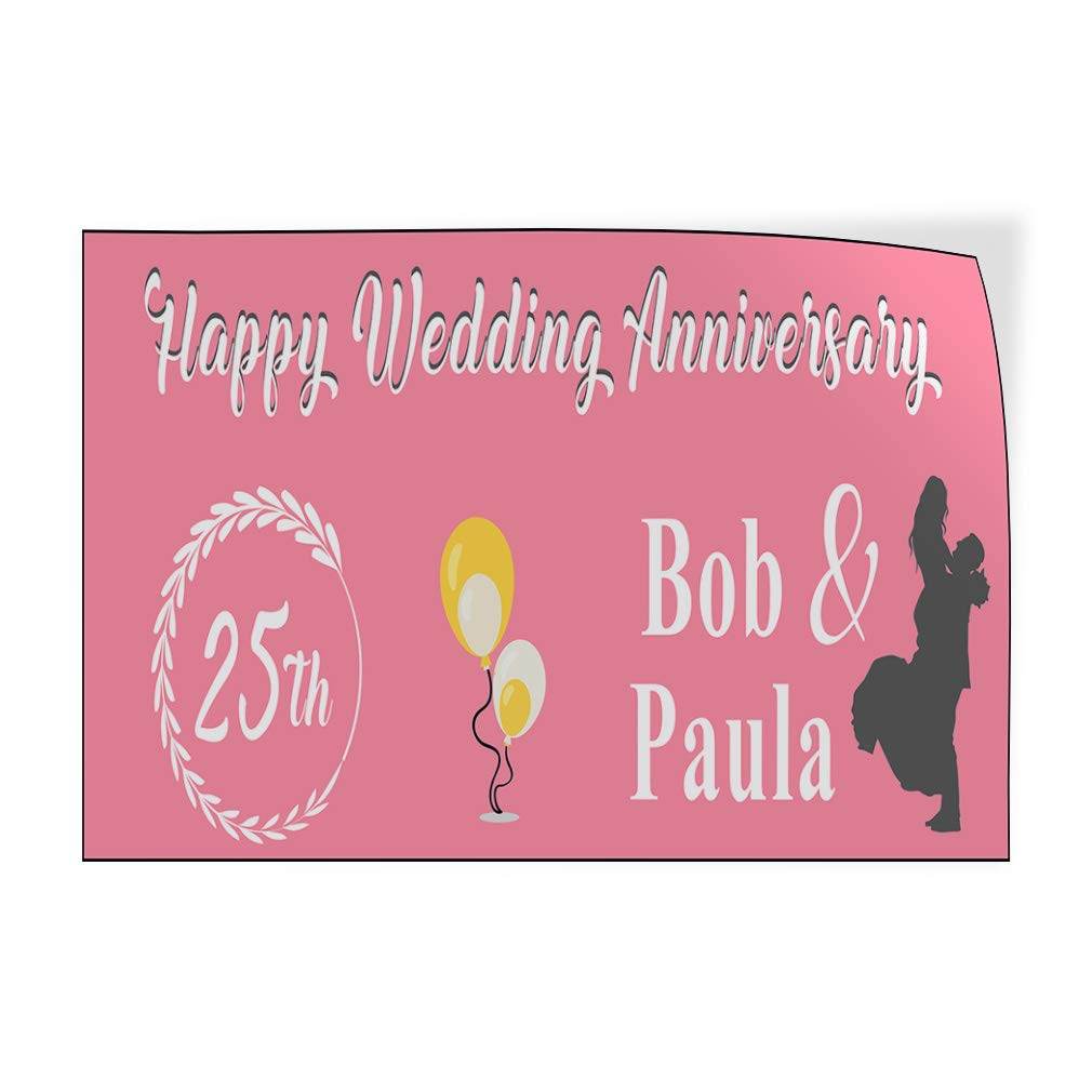 Custom Door Decals Vinyl Stickers Multiple Sizes Happy Wedding Anniversary Year Lifestyle Happy Anniversary Outdoor Luggage /& Bumper Stickers for Cars Pink 30X20Inches Set of 10