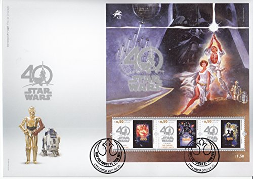 STAR WARS 40th Anniversary Collectible Postage Stamps Souvenir Sheet First Day Cover Portugal