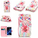 Uming® Retro Print Pattern Colorful Holster Cover Case ( Balloon Bear - for IPhone 5S 5 5G SE IPhone5S IPhoneSE ) Artificial-leather Flip with Bracket Stander Holder Credit Card Slot Wallet Hasp Magnet Button Shell Protective Mobile Cellphone Cover Bag