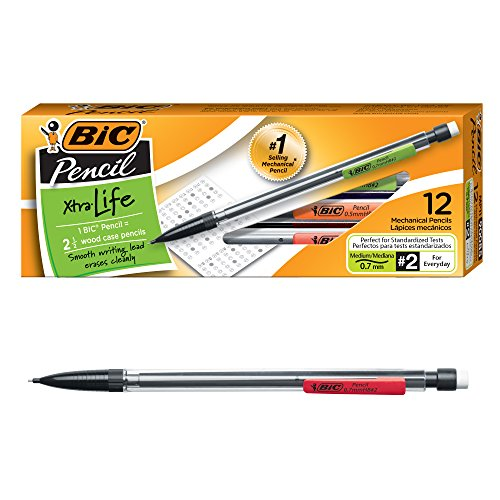 BIC Xtra-Life Mechanical Pencil, Clear Barrel, Medium Point (0.7mm), 12-Count (Body Pencil Clear)