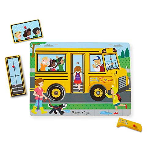 Melissa & Doug The Wheels On The Bus Sound Puzzle (Peg Puzzle, Developmental Toy, 6 Pieces)