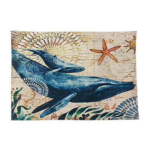 - Tableware Mat Place Mats Non-Slip Heat-resistant Waterproof PVC Dining Table Mats 30X40cm Underwater World Theme Dolphin Seahorse Design Placemat (D)