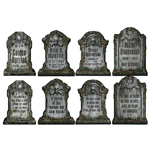 Tombstone Halloween Decorations (Beistle 01516 Packaged Tombstone Cutouts, Includes 4 Cutouts, 15 Inches)