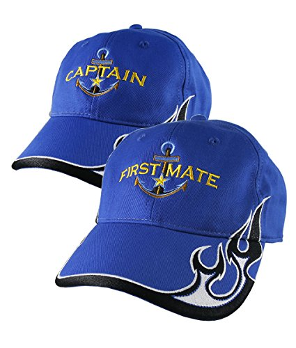 2df8b54e41b0d Nautical Star Golden Anchor Captain + First Mate Embroidery 2 Adjustable  Royal Blue Structured Flames Baseball