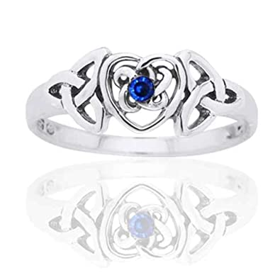 Amazon september birthstone ring sterling silver simulated september birthstone ring sterling silver simulated sapphire glass celtic trinity knot heart size 4 aloadofball Images