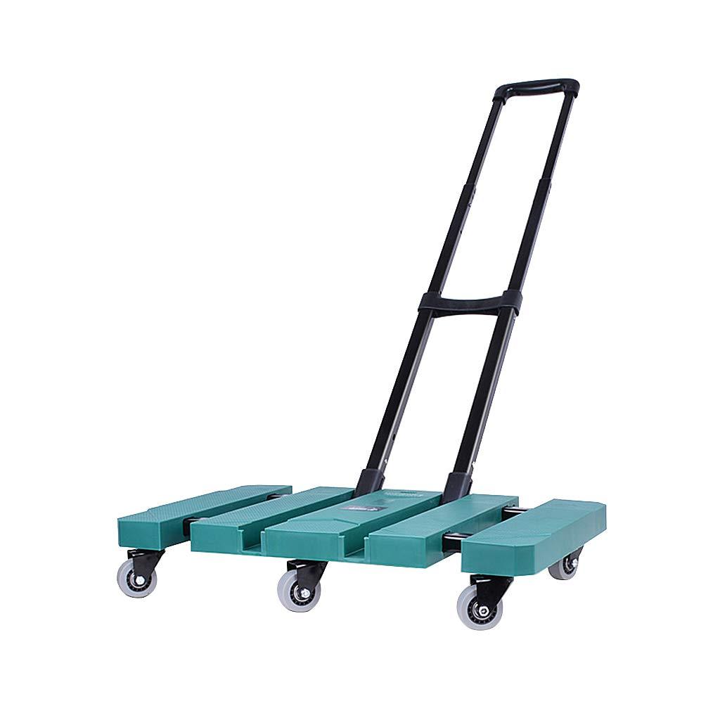 折り畳みハンドトロリー重い義務、6ユニバーサル車輪とポータブルハンドカート輸送のためのABSフラットベッドハンドトラック (色 : 緑) B07QKB14FM 緑