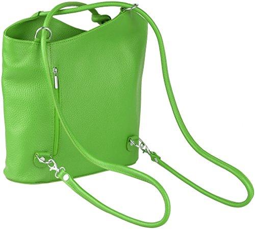 Ashley 2in 1 Rucksack und Handtasche aus Echt-Leder Made in Italy, 30x27x7 cm (B x H x T) Apfelgrün