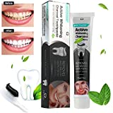 SMTSMT 2018 Activated Charcoal Teeth Whitening Toothpaste Natural Black Mint Flavor Herbal (105g)