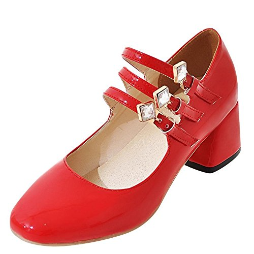 YE Damen Mary Jane Pumps Blockabsatz High Heels mit Riemchen und ...