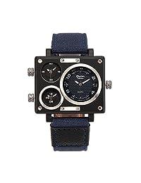 OULM 3595 Men's Military Sport Multi Time Zone Canvas Band Quartz Watch-Dark Blue