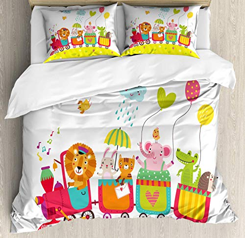 (Nursery Duvet Cover Set Queen Size, Childish Drawing Cartoon with Animals in Wagons Elephant Gator Lion Bunny Hedgehog, Decorative 4 Piece Bedding Set with 2 Pillow Shams, Multicolor)