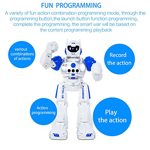 MIBOTE Remote Control Robot Toys for Kids, Smart Gesture Control & RC Remote Control Rechargeable Programmable Robot for Boys Girls Toddler, Walking, Singing, Dancing, Blue
