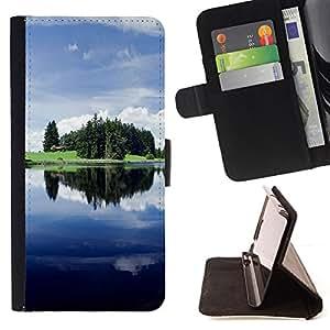 BullDog Case - FOR/Samsung Galaxy S6 EDGE / - / Nature Beautiful Forrest Green 125 /- Monedero de cuero de la PU Llevar cubierta de la caja con el ID Credit Card Slots Flip funda de cuer
