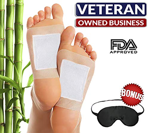 Bamboo Vinegar Foot Pads (10 Pack) & Bonus Silk Sleep Mask by RoCaFutures: Upgraded 2 in 1 All Natural & Premium Ingredients for Best Results | Night Time Pads, Soothing & Relaxing | Free eBook