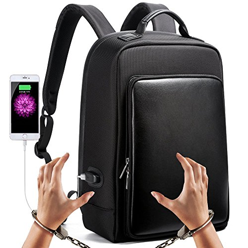 Bopai Business Invisible Anti Thief Backpack 15.6 Laptop Backpack with USB Charging Port Water-Resistant Travel Bag 15 inch Computer/ MacBook Pro Invisible Water Bottle Holder Backpack, Black
