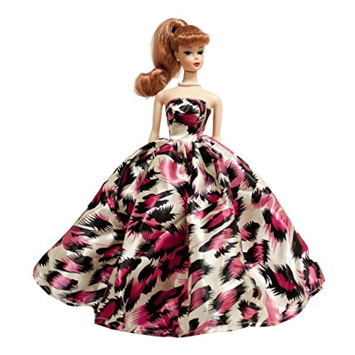 Peregrine Pink Feather Print Silk Prom Dresses for 11.5 inches Dolls