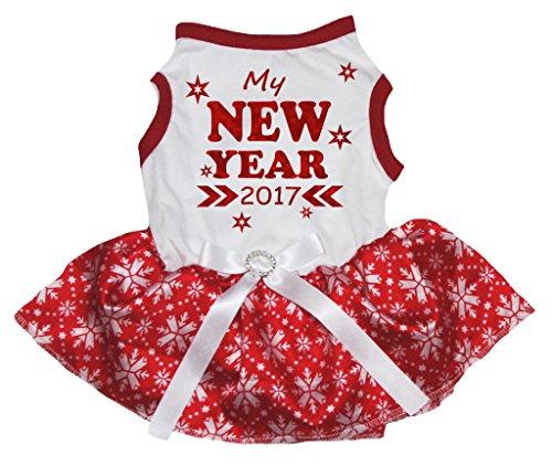 Petitebella Puppy Dog Clothes New Year 2017 Stars White Shirt Red Snowflake Tutu -