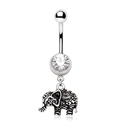 Amazon Com Henna Elephant Navel Ring 14g 3 8 Length Jewelry