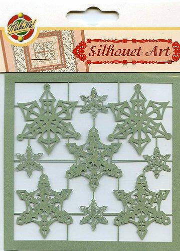 Decorative Silhouet Art Paper Ornaments - Snowflakes, Green Kars