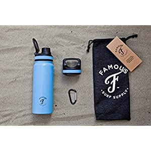 Famous Surf Supply Grom Flask - 18oz Stainless Steel Vacuum Insulated - Double Walled Insulated Water Bottle Wide Mouth and Sip Lid - Coffee Tea Thermos - Carabiner + Bag (Powder Blue)