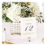 Wedding Table Numbers | Elegant 1-12 Double Sided Pearl White and Gold Table Numbers on Heavy Cardstock with Pearlescent Finish | Includes Mr and Mrs Table Cards and 2 Reserved Table Cards