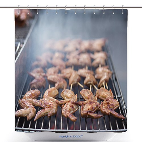 Durable Shower Curtains Street Food Thai Barbecue Grilled Chicken_509003165 Polyester Bathroom Shower Curtain Set With Hooks by