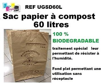Lot e 5 bolsas papel para compost (Biodegradable 60 L para basura orgánica en papel