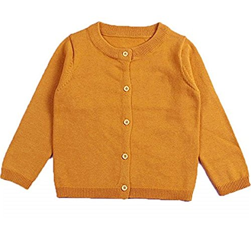 RJXDLT Girls Crewneck Cardigan Long Sleeve Children Button Cotton Sweater Uniform Sweaters for Little Girls 5Y Turmeric