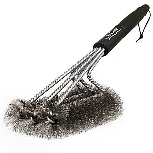 "iDoCare 18"" Wire Grill Brush - 3 Stainless Steel Brushes in 1 - Best Barbecue Grill Brush Cleaner - Perfect for Weber, Traeger, Char-Broil, Gas, Electric, Porcelain & Infrared Grills"