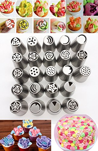 - KOOTIPS Russian Piping Tips Piping Nozzles 45 Pcs/set, 23pcs Stainless Steel Large Size Icing Syringe Set DIY Coupler Nozzle+ 10 Pastry Bag + Coupler + Brush