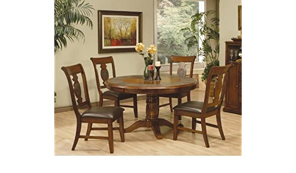 Amazon Com 5pc Dining Table Chairs Set With Tile Inlaid Warm Oak