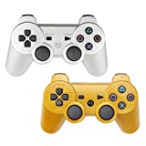 YOUCable PS3 Controller Wireless Playstation 3 Remote Dualshock 3 Bluetooth Gamepad (Sliver+Gold)