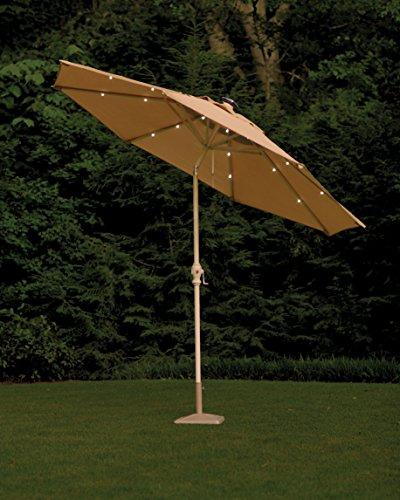 9 ft. Round Aluminum Solar Patio Umbrella in Taupe Super Bright LEDs, Crank and Tilt, Patio Furniture