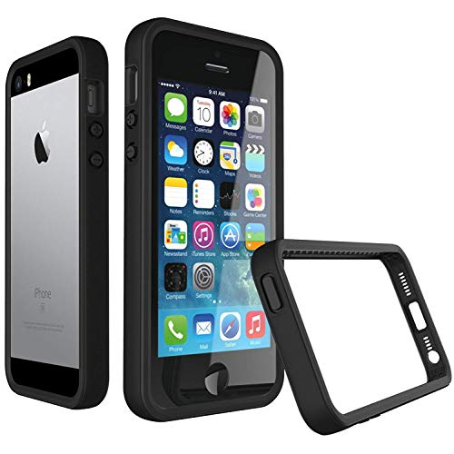 iPhone SE Case, RhinoShield [CrashGuard] 11 ft Shock Absorption Ultra Thin Bumper Frame with & Free Back Transparent Skin. Slim Heavy Duty Protection. Also for iPhone 5 / 5s - Black ()