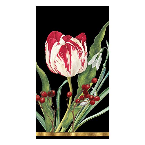 Caspari Paper Hand Towels for Bathroom Decor Christmas Floral Decor Tulips Pk 30