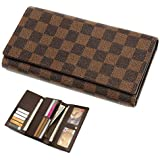 Wallets for Women Leather Trifold Clutch Checkbook Purse RFID Blocking with Credit Card Holder Organizer (Brown)