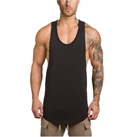 YOcheerful Men s Vest Tank Top Gym Muscle Sleeveless Sportswear Sports  Shirt Top (Black