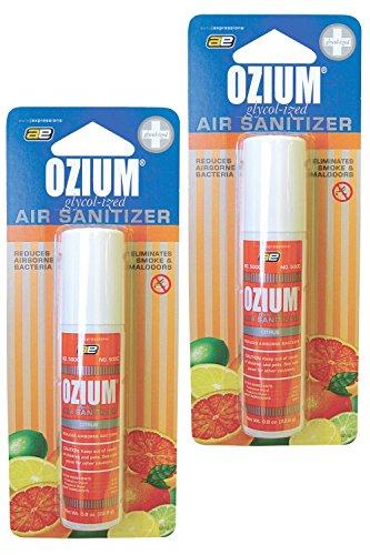 Ozium Smoke & Odor Eliminator Car & Home Air Sanitizer / Freshener, 0.8oz Spray Citrus - Pack of 2 (Best Smoke Odor Eliminator For Cars)
