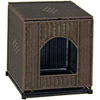 PetSafe Solvit Mr. Herzher's Cat Litter Pan Cover, Covered Wicker Cat Litter Box Enclosure