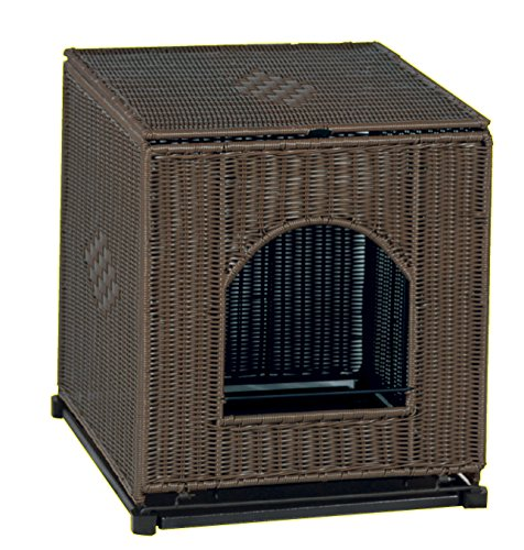 PetSafe Mr. Herzher's Large Decorative Litter Pan Cover - Dark - Box Cover Wicker Litter Brown