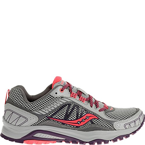 Saucony Women's Grid Excursion TR9 Trail Running Shoe, Grey/Plum/Coral, 9 M US