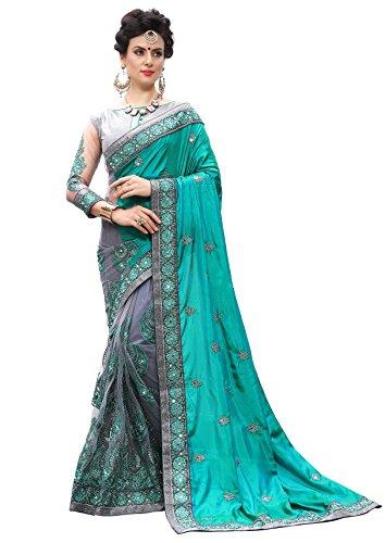 Sari Turquoise Blue (Nivah Fashion Women's Silk&Net Half N Half Sari Embroidery Work Diamond Materil SareI K710(Turquoise))