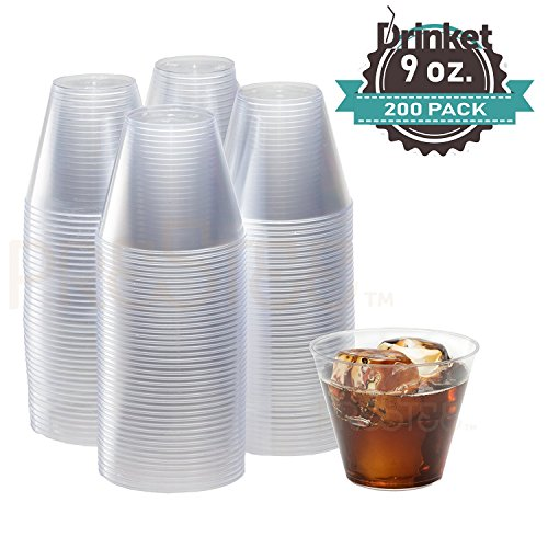 9 oz Clear Plastic Cups | Small Disposable Cups | Old Fashioned Tumblers | 200 Pack | Beverage Party Cups | Hard Plastic Drinking Cups | Ideal for Wine, Cocktails & Punch [Drinket]