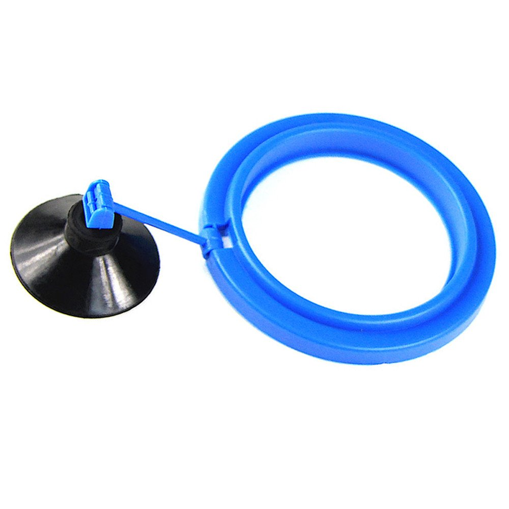 Fish Feeder Square and Round Shape Aquarium Safe Fish Feeding Ring Sucker Suction Cup Base Feeder (Blue A)