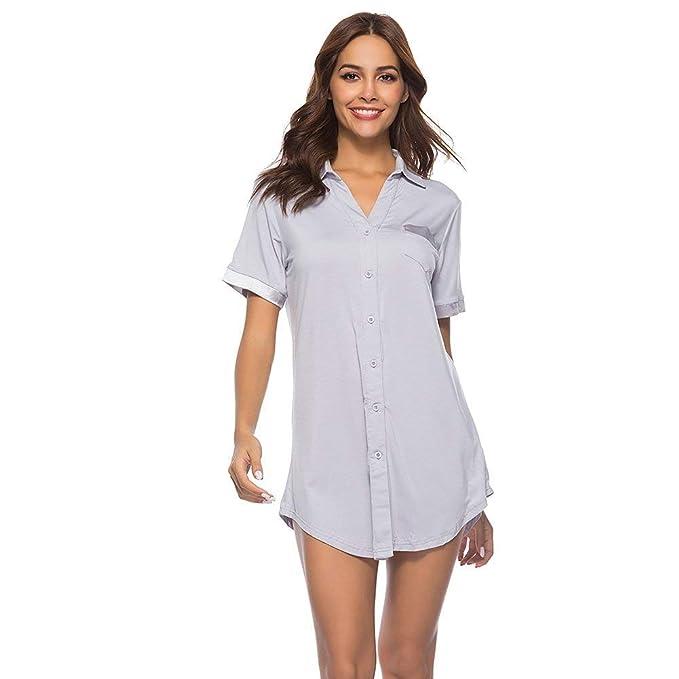 119750fe60 Camisa De Dormir para Mujer Vestidos Camisa De Algodón Clásico Botón De  Solapa Abajo Amigo De La Noche Calentamiento Funda De Camisón Pijama Mujeres   ...