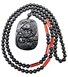 SUNNYHER Natural Obsidian Apache Tears Stone Pendant Jewelry Koi Fish Lotus Chinese Feng Shui Amulet Beaded Long Chain Necklace