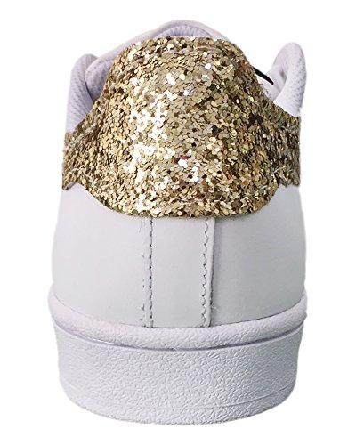 oro Superstar bianche glitter tessuto applicazione con Bianco raSxw4Xaqz